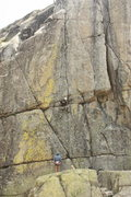 Rock Climbing Photo: The route follows the left-leaning crack before tr...