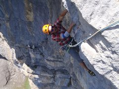 Rock Climbing Photo: Dani following p3, about to grab the final jug