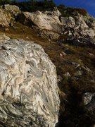 Rock Climbing Photo: Swirly rock on the approach.