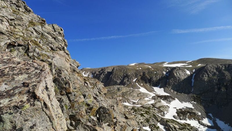 The scrambling starts (I traversed climber's right of the route proper to make things more interesting).