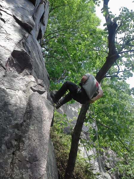 Rock Climbing Photo: Rappelling on west bluff at devil's lake.
