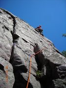 Rock Climbing Photo: Wiessner Face on lead.  Wow!  The weather was pret...