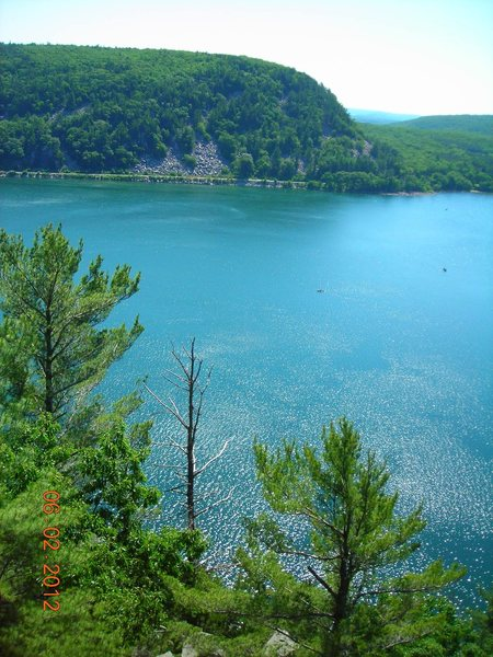 Devil's Lake from the the comfy ledge midway up Weisssner's Wall West Bluff on a stellar June Saturday.  Wow!