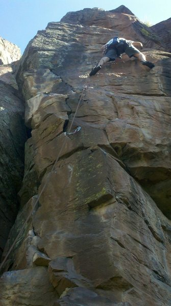 Rock Climbing Photo: Halfway up things start to get crimpy and interest...