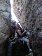 Rock Climbing Photo: Starting Mr. Potatohead (V1), in Hueco Tanks. Octo...