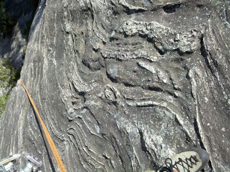 Cool swirls of rock on the headwall of the last pitch.  Awesome climbing!