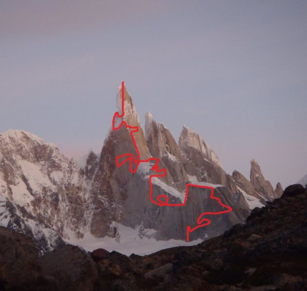 "My new route up Cerro Torre.  I call it ""The Directesima"".  7562 bolts."
