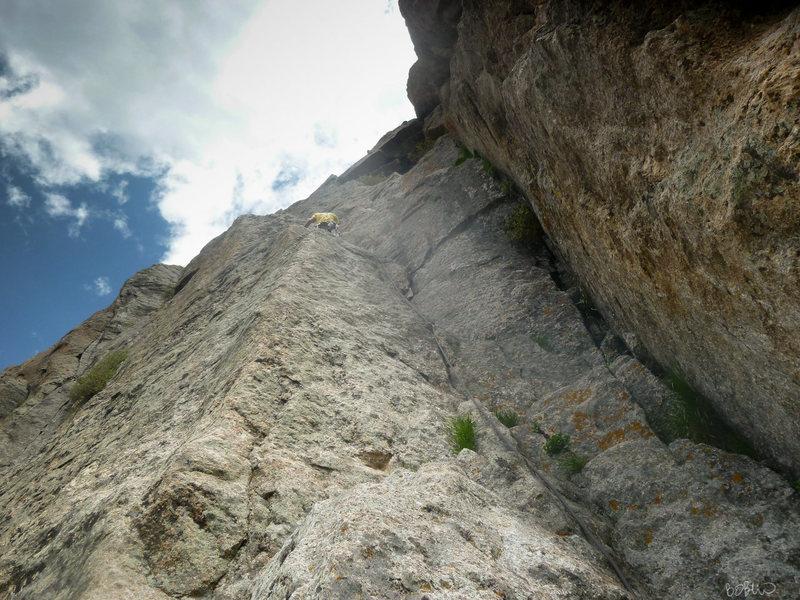Rock Climbing Photo: Kirril starting up P2.
