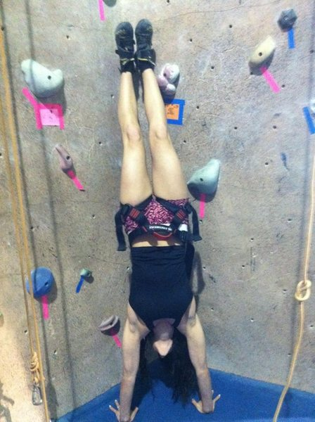Rock Climbing Photo: Making to most of our climbing gym lol