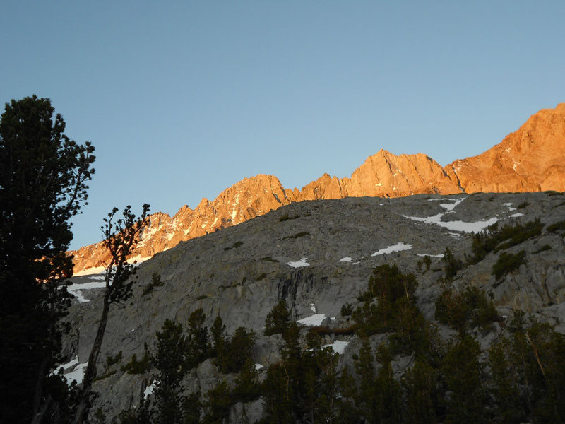 Morning alpenglow as seen from Finger Lake.