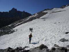 Rock Climbing Photo: Approaching the medial moraine on the way up to th...