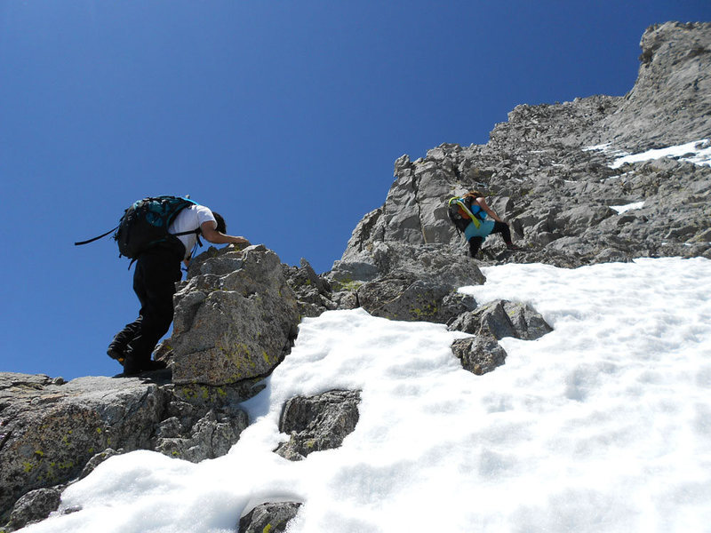 Lluis and Parker avoiding the snow on the way up the main gully.