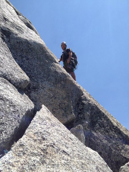 Rock Climbing Photo: Heading up the last pitch of Angel's Fright, Tahqu...