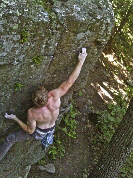 Rock Climbing Photo: Making the crux reach