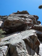 Rock Climbing Photo: Doug pulls past the crux up high.  The holds befor...