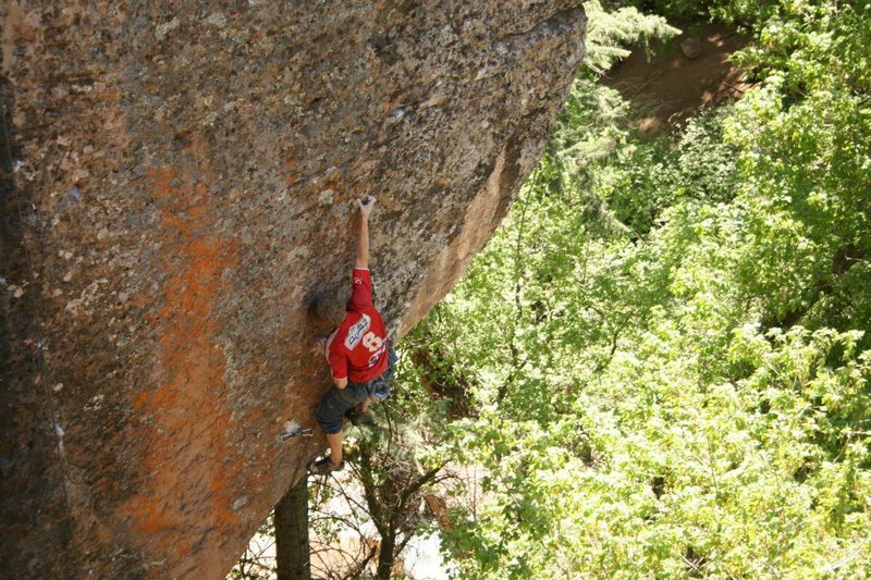 Rock Climbing Photo: Ben Riley mid crux on Bowsprit