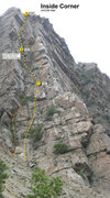 Rock Climbing Photo: Topo. The route we took is in yellow, other option...