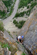 Rock Climbing Photo: Looking down from the top of the route and Tristan...