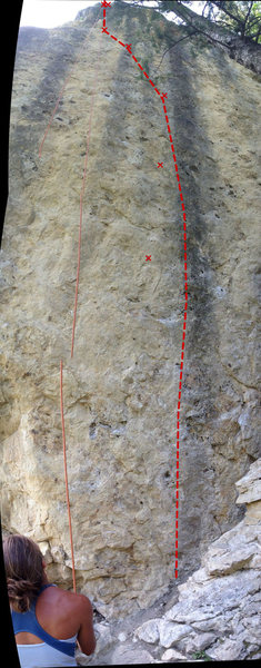 Ignition Topo with approx bolt locations marked.  This climb is very difficult to get a good photo of so this is a stitch of 3 photos which makes it look much taller than it is.