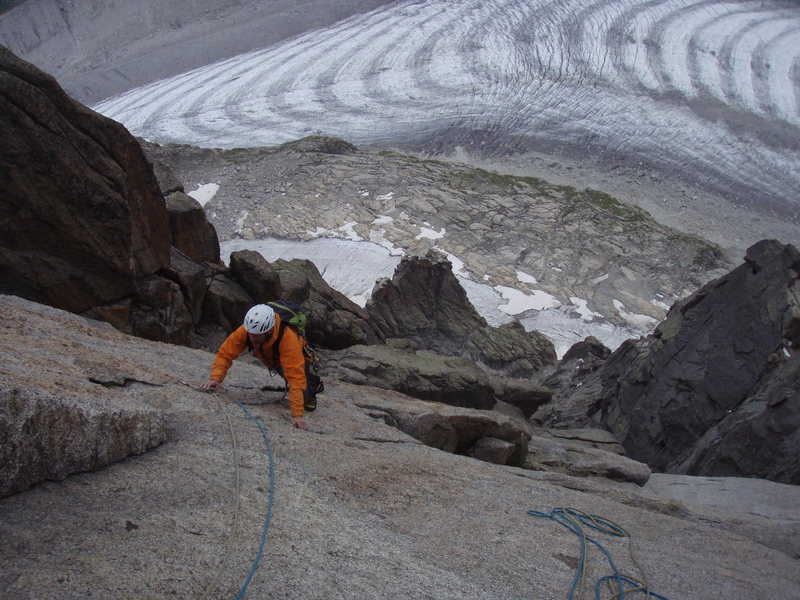 Rock Climbing Photo: friction climbing on granite slabs with the glacie...