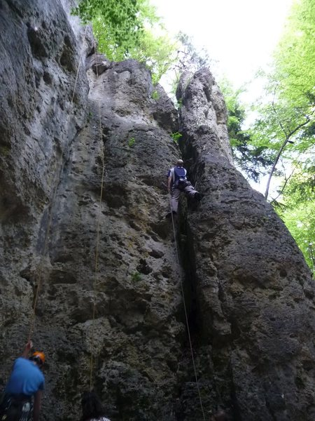 Rock Climbing Photo: Aran leading Blumenduft.