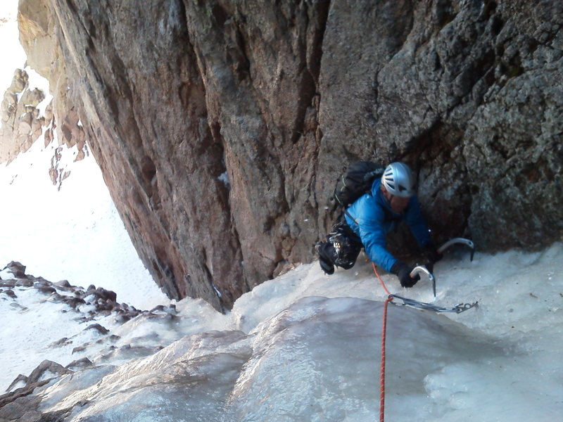 Climbing the first pitch to the first fixed (2 piton) anchor on the right@SEMICOLON@ you can back up the pins with cams on the right.  We did a short pitch up snow to gain the ice.