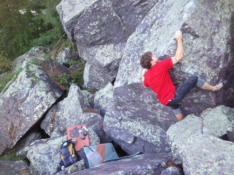 Rock Climbing Photo: Baker on the kinda sketchy topout