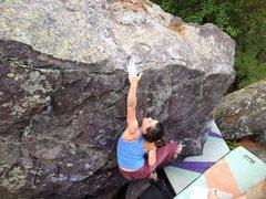 Rock Climbing Photo: Sam floats up the last hard move.