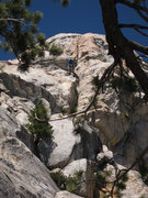 Rock Climbing Photo: Climber leading Red Roof Route