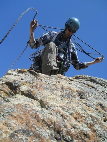 Rock Climbing Photo: Dan readying the Rap