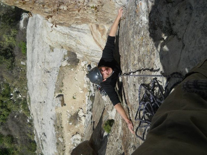 Rock Climbing Photo: Gabriel following pitch 1