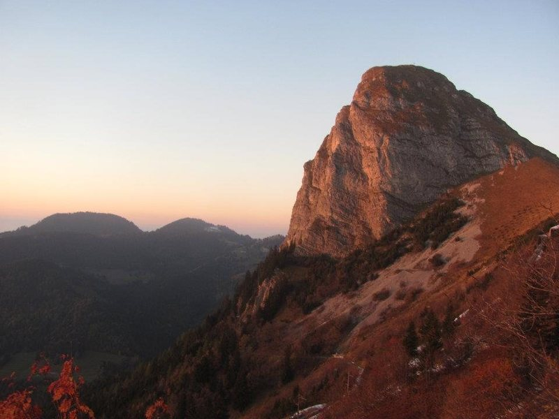 Rock Climbing Photo: Dent de Jaman South face at dusk.  Ace of Spades i...