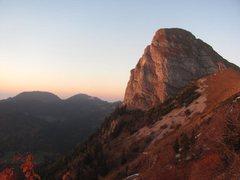 Rock Climbing Photo: Dent de Jaman South face at dusk.  Ace of Spades i...