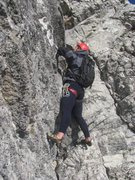 Rock Climbing Photo: Pulling through a vertical section on Pitch 4