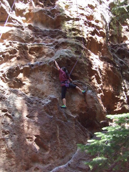 Rock Climbing Photo: Kira moves through the lower section of what seeme...