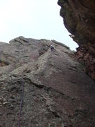 Rock Climbing Photo: Deb leads P1.