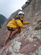 Rock Climbing Photo: Erin on her first multi-pitch climb.  She doesn't ...