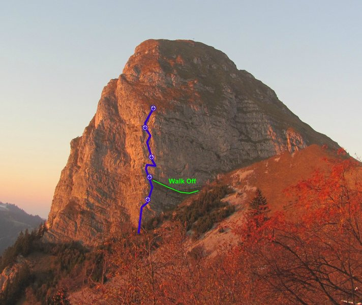 Topo showing the route Ace of Spades on Dent de Jaman.