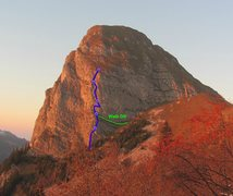Rock Climbing Photo: Topo showing the route Ace of Spades on Dent de Ja...