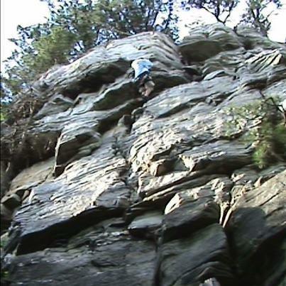 """Rock Climbing Photo: """"Pee Break"""" at Pilot Mtn."""