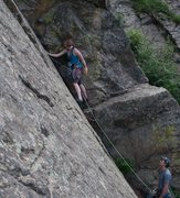 Rock Climbing Photo: Kristin Knudson, onsight.  Her first trad lead.  P...