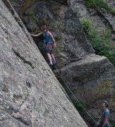 Rock Climbing Photo: Kristin Knudson, onsight.  Her first trad lead.  P...