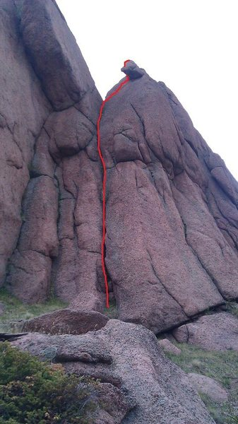 Rock Climbing Photo: Red line is the route.