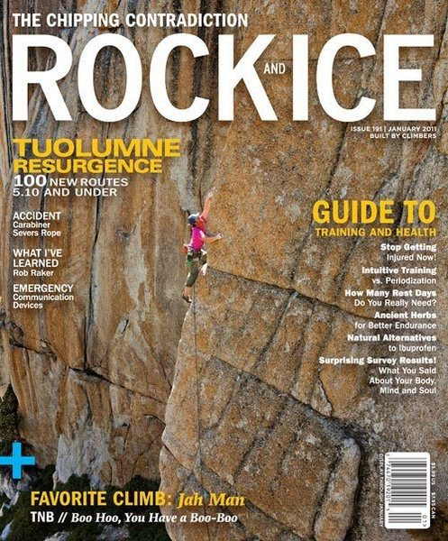 james lucas climbing the route on the cover of rock and ice 1/11.