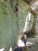 Rock Climbing Photo: making a stretch for the final little crimper befo...