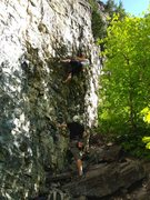 Rock Climbing Photo: extending the draw on the 2nd bolt is most helpful...