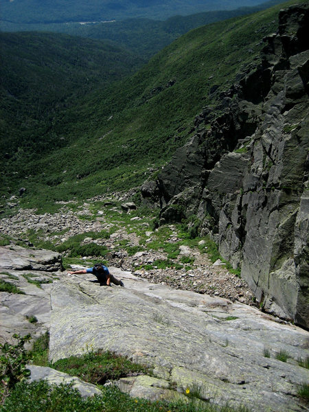 Rock Climbing Photo: Brian Aitken climbing Central Gully Slab. Photo by...