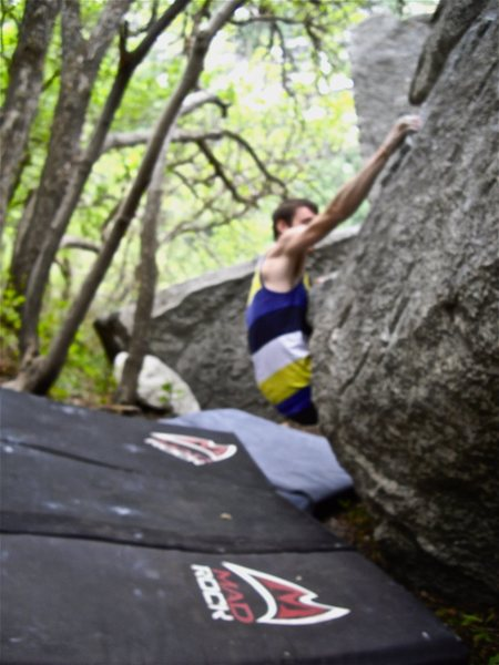 For the SDS, start with you hands on a low, juggy ledge with good feet.  Throw up and right for a jug.