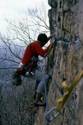 Rock Climbing Photo: April 1988. Mark Taylor on the P2 traverse of Dire...