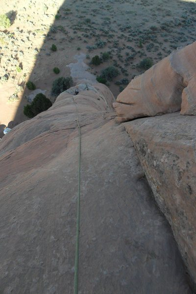 Rock Climbing Photo: Brenda looking up the route from the 1st belay sta...